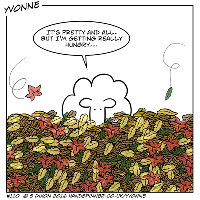 Yvonne up to her neck in leaves, says It's pretty and all... but I'm getting really hungry....