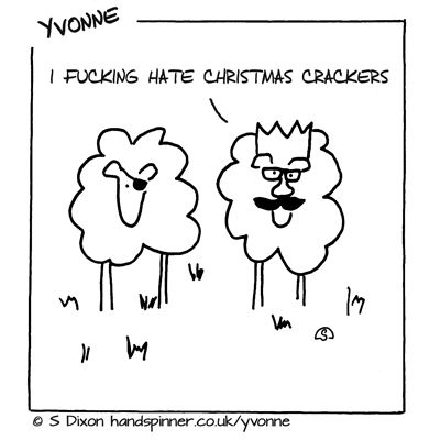 Two sheep looking silly wearing Christmas cracker presents and hats, caption is I fucking hate Christmas crackers