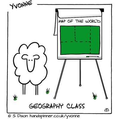 Geography Class Ewe with flipchart. On flipchart is a green square, title Map of the World