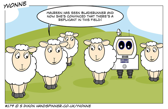 The sheep are laughing because Maureen has seen Bladerunner and is paranoid about there being a replicant in the field. An obvious robot sheep stands among them. Full transcript on page.