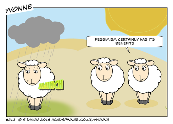 Sheep standing in an arid field, parched by a hot sun. One has a raincloud over her head and green grass under her hooves. She's munching away but looking sad. Yvonne: Pessimism certainly has its benefits