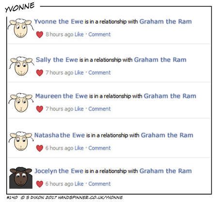 Screenshot of a social networking site - everyone is in a relationship with Graham the Ram!