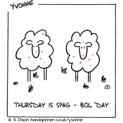 Two sheep with red spots. Caption is Thursday is spag-bol day.